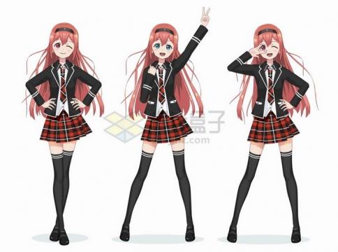 大长腿格子裙小西装学生装动漫日式漫画卡通美少女png图片免抠矢量素材