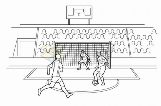在体育馆中踢足球的运动员线条插画png图片素材
