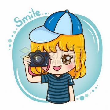 卡通小孩拿着照相机拍照430926png矢量图片素材