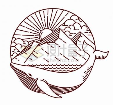 抽象线条鲸鱼背上的大海和高山手绘插画png图片免抠矢量素材