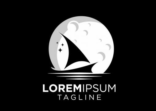 灰白色月亮月球帆船logo设计方案png图片免抠矢量素材