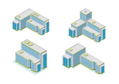 4款蓝绿灰色城市建筑医院大楼图片免抠矢量图素材
