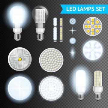各种LED灯节能灯管图片免抠矢量素材