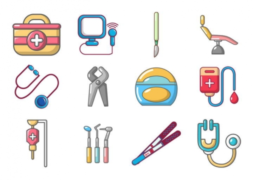 12款可爱风格医疗用品图标免扣图片素材