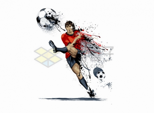 水彩画风格踢足球的运动员抽象体育运动插画png图片素材