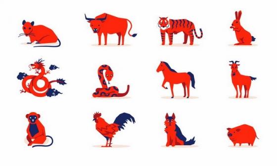 红色中国十二生肖排序图案png图片免抠矢量素材
