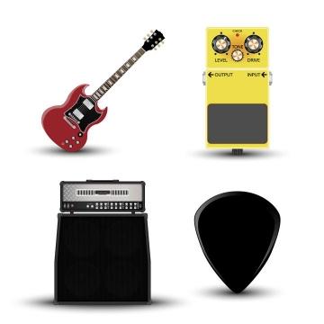 尤克里里吉他等四种音乐乐器图片免抠素材