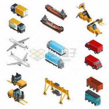 2.5D风格卡车轮船飞机叉车龙门吊车等快递物流运输工具png图片免抠矢量素材