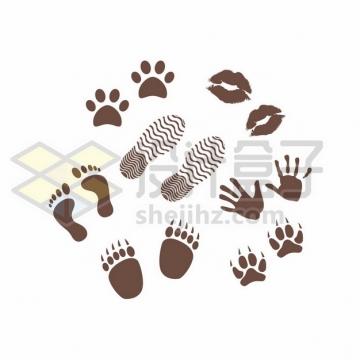 狗狗猫咪脚印和鞋印和唇印图案669778png矢量图片素材