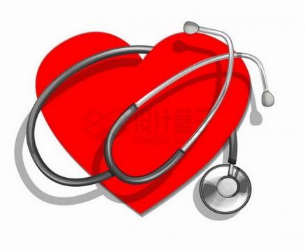 红色心脏图案上的听诊器世界心脏日png图片免抠矢量素材