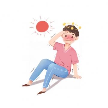 炎热的夏天在太阳底下被晒晕中暑的卡通男人269761png图片素材