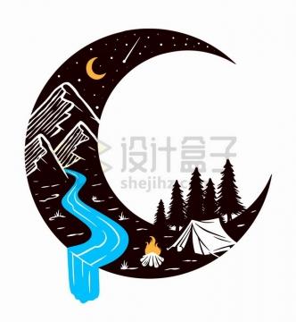 抽象弯月中的高山河流森林帐篷和篝火手绘插画png图片免抠矢量素材