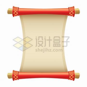 中国风卡通复古卷轴圣旨png图片素材
