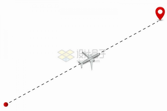 起点到终点标志之间的虚线航线上的大型客机飞机png图片免抠矢量素材