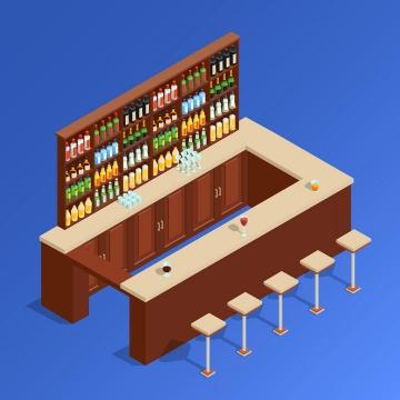 2.5D效果酒吧吧台图片免抠素材