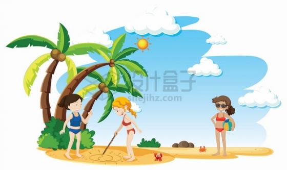 热带海岛旅游在沙滩上玩游戏的卡通女孩png图片素材