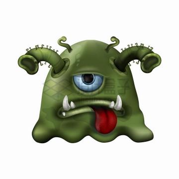 恶心的绿色卡通新型冠状病毒png图片免抠矢量素材