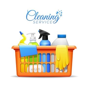 清洁篮筐中的洗涤剂手套等清洁用品图片免抠素材