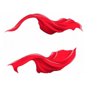 2个手绘风格飘扬的红色绸缎面丝绸红旗装饰298976png图片素材