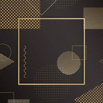 孟菲斯风格的金色图案边框图片免抠素材