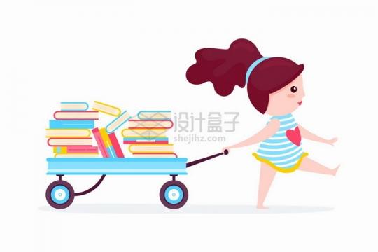 拖着一车书本的卡通女孩爱读书看书学习png图片免抠矢量素材