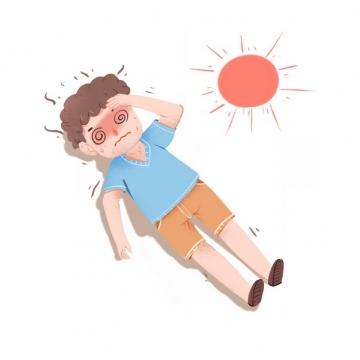 炎热的夏天在太阳底下被晒晕中暑的卡通男人333313png图片素材