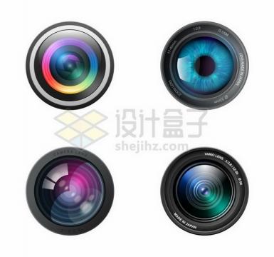 4款逼真的彩色照相机手机镜头748767png矢量图片素材