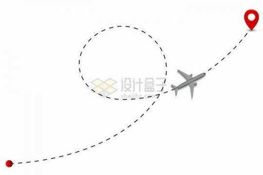 起点到终点标志之间的弯曲虚线航线上的大型客机飞机png图片免抠矢量素材