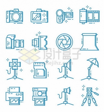 16款蓝色数码照相机和相机配件图标507382png矢量图片素材