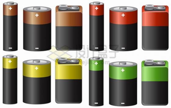 4套颜色的碱性电池锂电池5号电池png图片素材