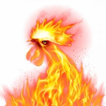 创意火焰组成的公鸡火凤凰png图片免抠矢量素材