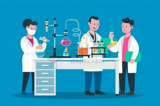 3个身穿白大褂的科学家正在使用生物化学实验仪器做实验png图片免抠矢量素材