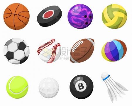 卡通篮球足球排球高尔夫球橄榄球台球羽毛球等体育运动球类png图片免抠矢量素材