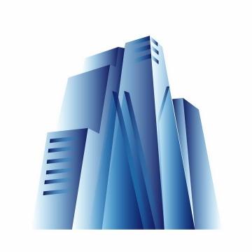 蓝色渐变色科幻风格3D立体建筑png图片免抠ai矢量素材