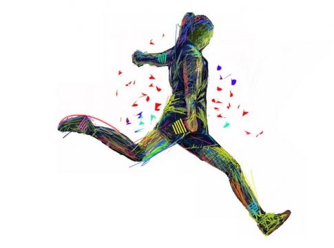 涂鸦彩绘踢足球的女孩941979png图片素材