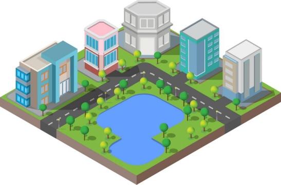 2.5D风格围着湖泊公园的城市建筑图片免抠矢量图素材