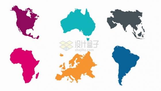 亚洲欧洲非洲大洋洲南美洲北美洲六大洲地图png图片素材