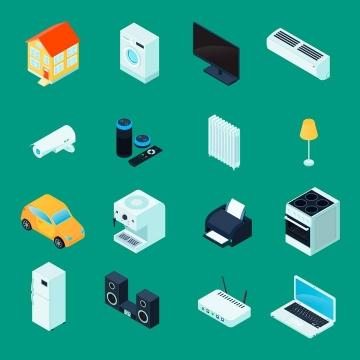2.5D效果摄像头打印机音响笔记本等家庭家用电器图片免抠素材