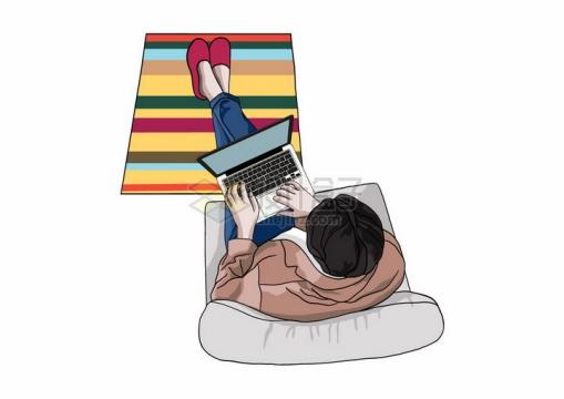 俯视视角躺在沙发上用电脑的年轻人手绘插画png图片免抠矢量素材