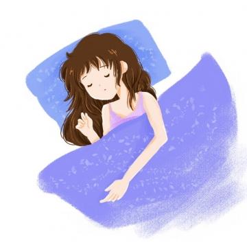 卡通女孩盖着被子睡觉237845png图片素材