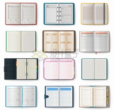 12款翻开的书本平铺开来png图片免抠矢量素材
