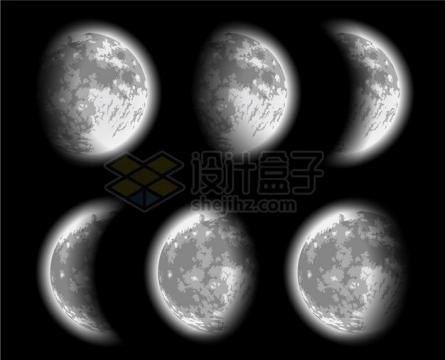 逼真的月球月相变化图341254png矢量图片素材