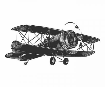 黑色手绘素描风格飞行中的双翼机飞机png图片免抠矢量素材