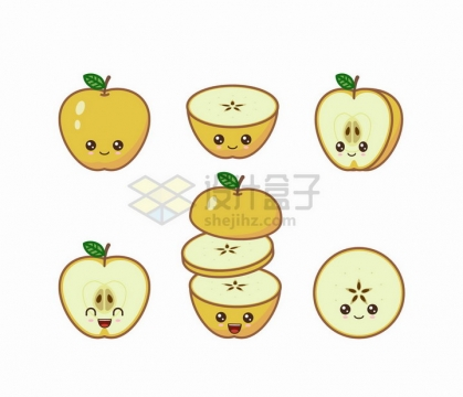 卡通黄苹果自带各种表情水果png图片免抠矢量素材