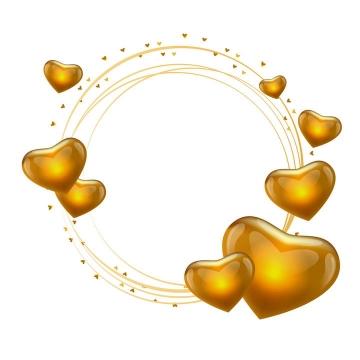 金色圆圈线条和水晶心形文本框图片免扣素材