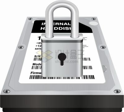 机械硬盘上的银色挂锁象征了数据安全png图片素材