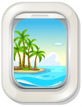 卡通风格飞机圆角舷窗窗户外的风景图片免抠素材