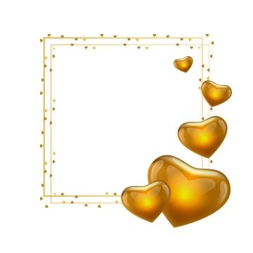 金色正方形线条和水晶心形文本框图片免扣素材