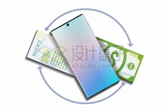 智能手机压在美元钞票上手机支付png图片免抠矢量素材