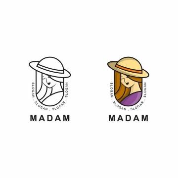 线条和上色的头戴草帽的美女美容美发logo设计方案png图片免抠矢量素材